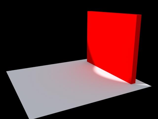 La primera prueba de render nos devuelve el resultado que confirma el dominio del rojo en la escena. (el suelo blanco presenta un halo rojizo).