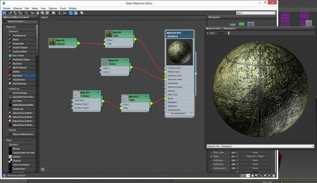 """Otro sistema de nodos bastante práctico es el que ahora se tiene en el editor de materiales """"slate"""". Con ese sistema es más fácil estructurar el material pues se ven todos los componentes y sus ramificaciones en una especie de árbol de jerarquías."""
