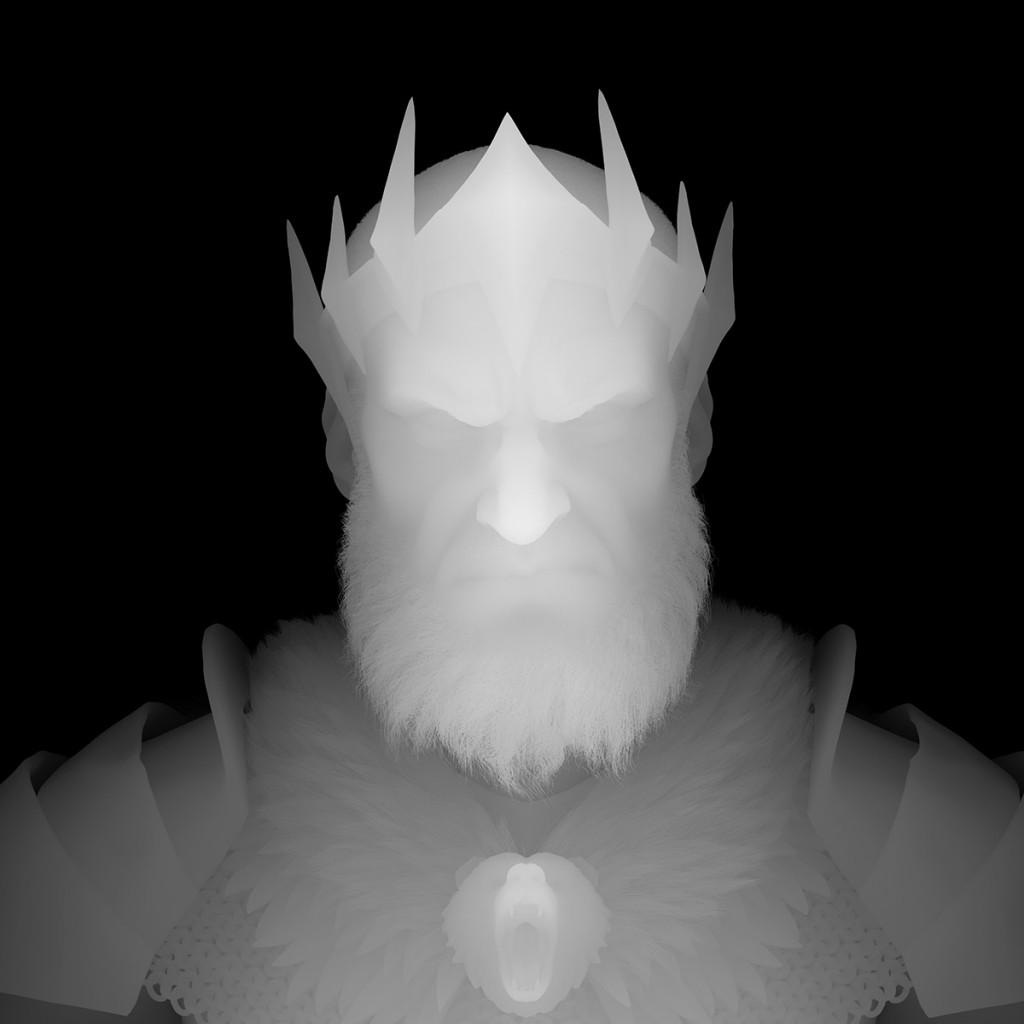 Un rostro en mapa de profundidad. Zonas como la naríz o la frente tienen valores claros mientras que los costados y el curepo son más oscuros.