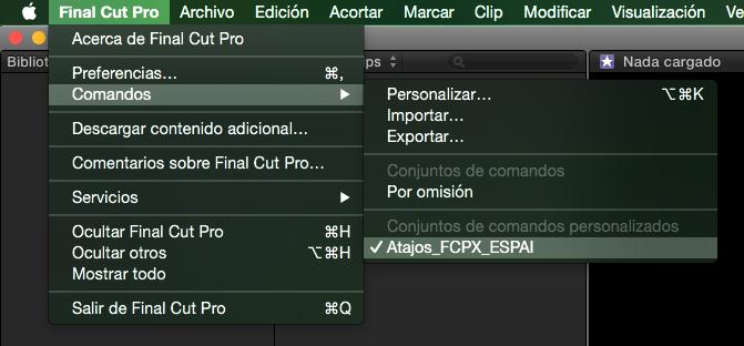 Atajos de teclado de Final Cut Pro X