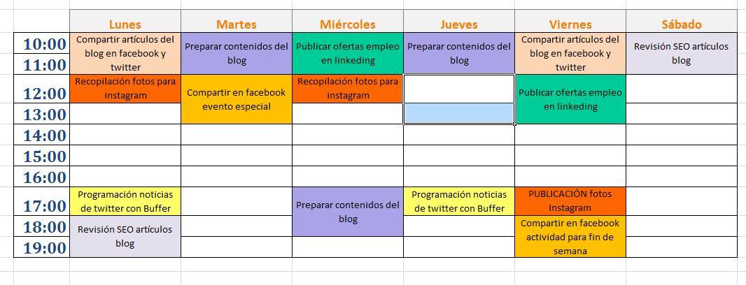 Calendario editorial de redes sociales
