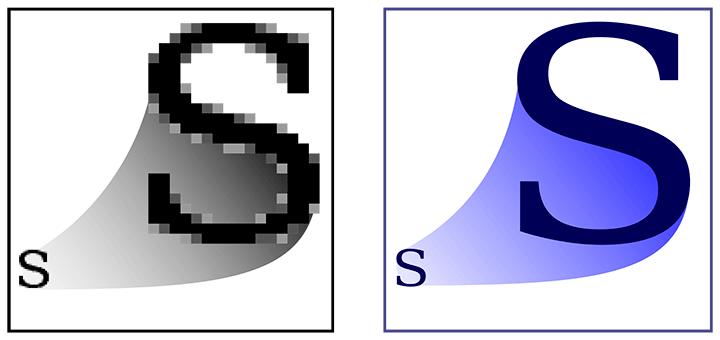 Gráficos de mapa de bits vs gráficos vectoriales (SVG).