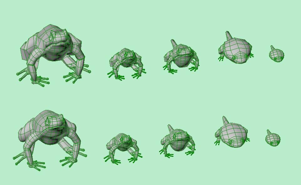 Los demás modelos de las ranas se fueron modificando a partir  del primero, teniendo en cuenta referencias reales.