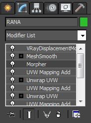 Para que todo funcionase correctamente, VRayDisplacementMod y los demás modificadores,  tendrían que ir en este orden.