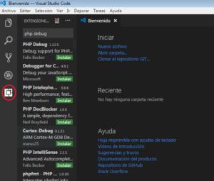 buscar extensión PHP Debug