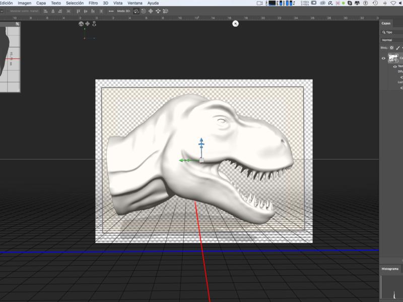 Cabeza de T-Rex 3D en Photoshop